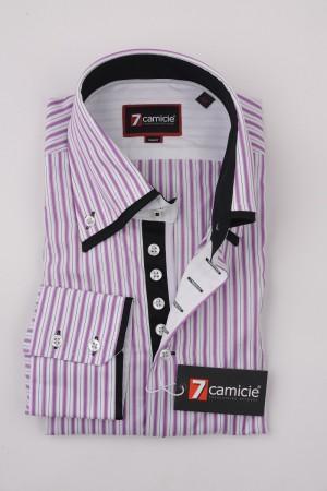 7-0020 White Pink Stripe